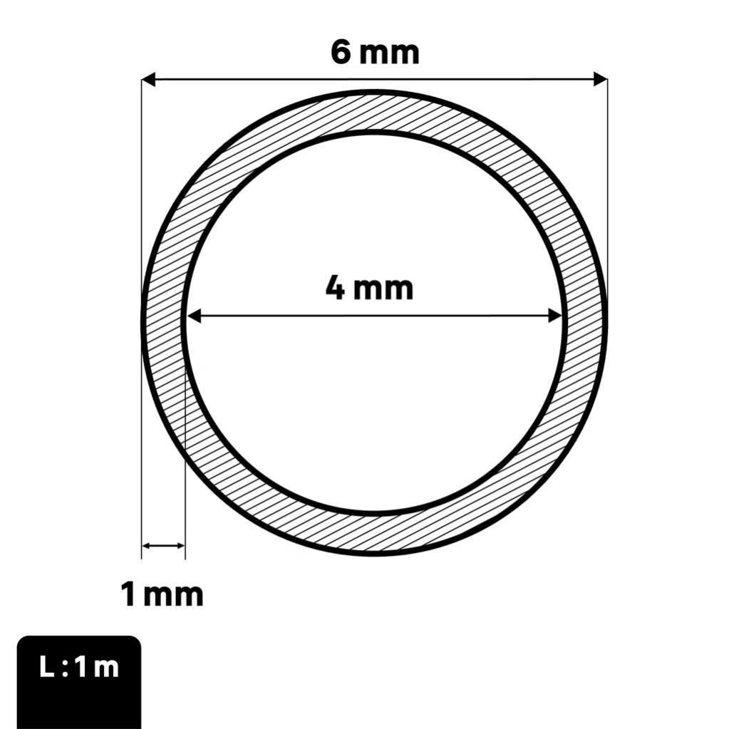 Tube rond en aluminium 6060T6 mm 156 x 3 Longueur = 3 m/ètres