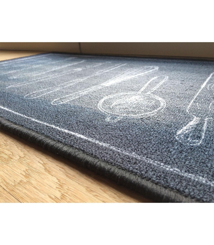 tapis de cuisine noir motif couverts