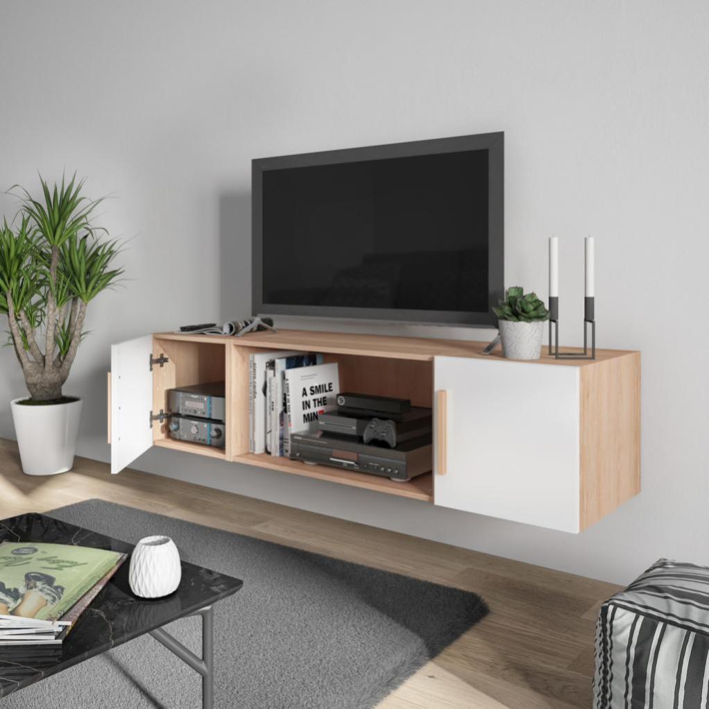 meuble tv blanc chene h 40 x l 160 x p 45 cm home