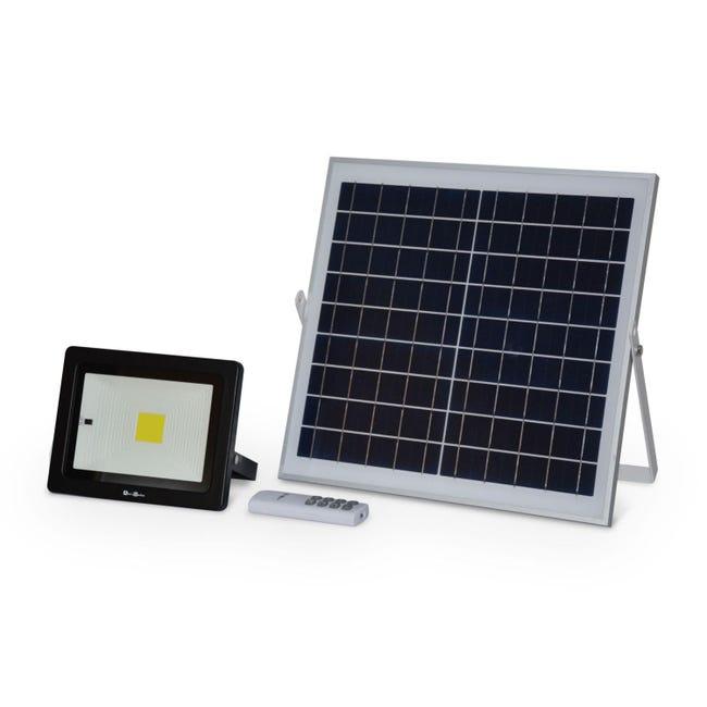 Projecteur Solaire A Detecteur De Mouvement Led 20w Avec Panneau Solaire Telecommande Blanc Froid Batterie Lithium Leroy Merlin