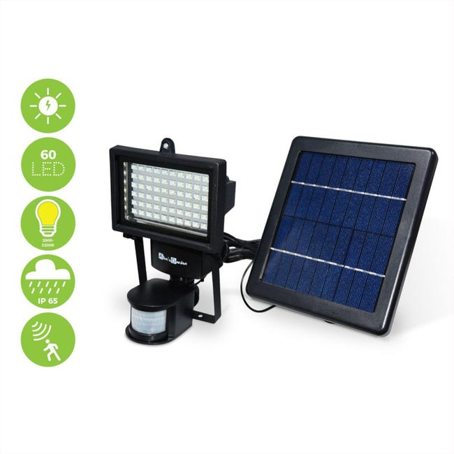Projecteur Solaire Led 60 Led Puissantes 420 Lumens Batterie Lithium Detecteur De Mouvements Blanc Chaud Leroy Merlin