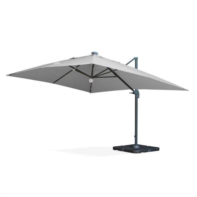 Parasol Déporté Solaire Led Rectangulaire 3 X 4 M Haut De Gamme Luce Gris Clair Parasol Excentré Inclinable Leroy Merlin