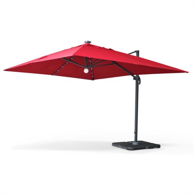 Parasol Déporté Solaire Led Rectangulaire 3 X 4 M Haut De Gamme Luce Rouge Parasol Excentré Inclinable Rabattable Leroy Merlin
