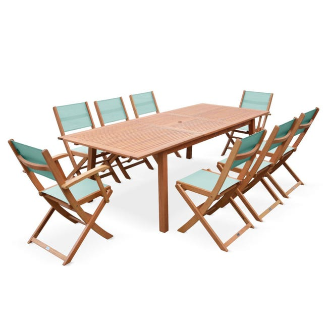 Salon De Jardin En Bois Extensible Almeria Table 180
