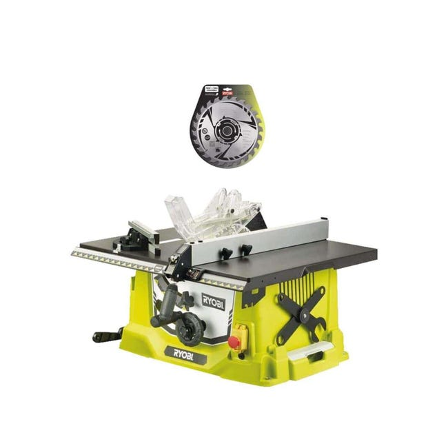 Pack Ryobi Scie Sur Table Electrique 1800w 254mm Rts1800 G Lame Carbure 254mm 24 Dents Sb254t24a1 Leroy Merlin