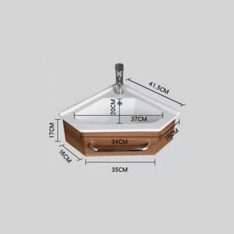 Meuble De Salle De Bain D'angle Gain De Place - Lave Main - Blanc Crème - 42x42 Cm - Kara ...