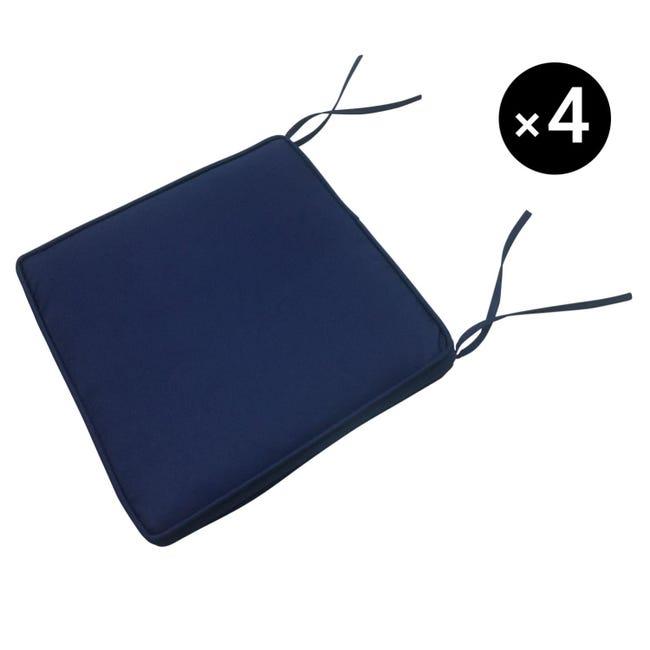 Lot De 4 Coussins Pour Chaise Bleu 40 40cm Leroy Merlin