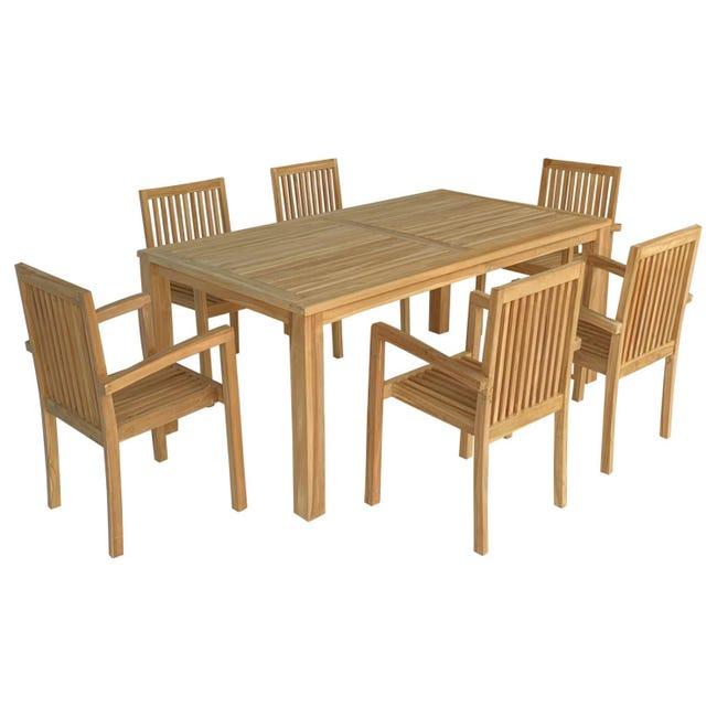 Salon De Jardin En Teck Java Table Rectangulaire 6 Places Leroy Merlin