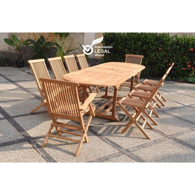 Kajang Salon De Jardin Teck Massif 10 Personnes Table Ovale 8 Chaises 2 Fauteuils Leroy Merlin