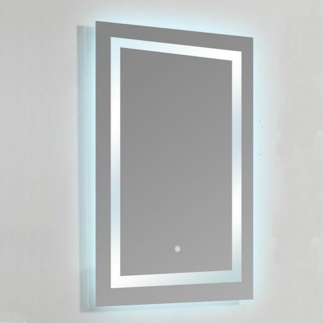 Miroir Lumineux De Salle De Bain Rectangle Retro Eclairage Led 60x80 Cm Connec T 60 Leroy Merlin