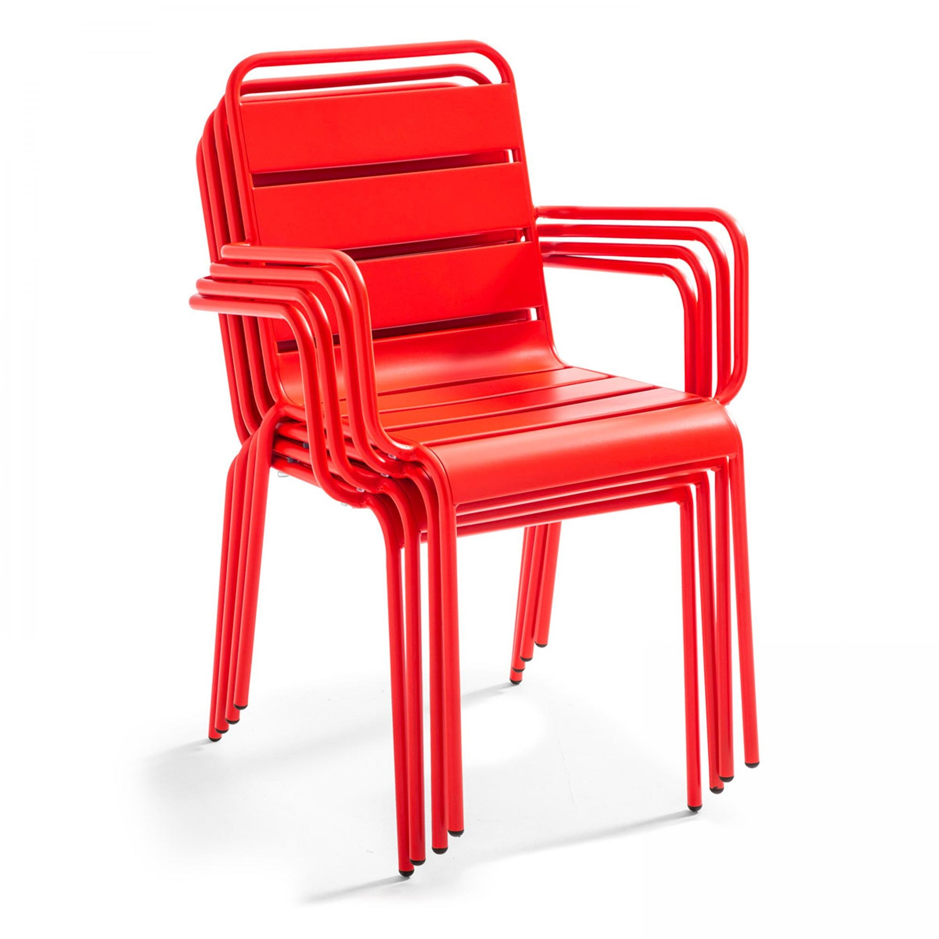 chaise de jardin acier 103591 rouge  leroy merlin