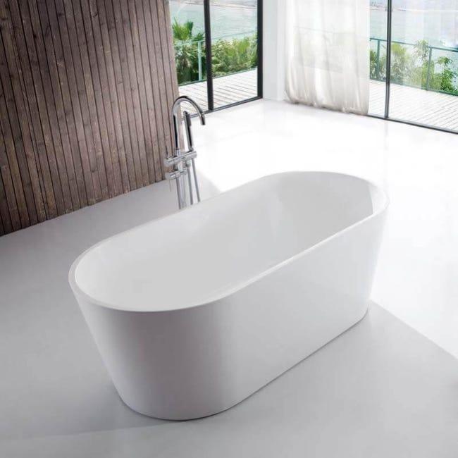 Baignoire Ilot Ovale Acrylique Blanc 120x65 Cm Rome Leroy Merlin