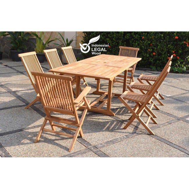 Kajang Salon De Jardin Teck Massif 8 Personnes Table Rectangulaire 6 Chaises 2 Fauteuils Leroy Merlin