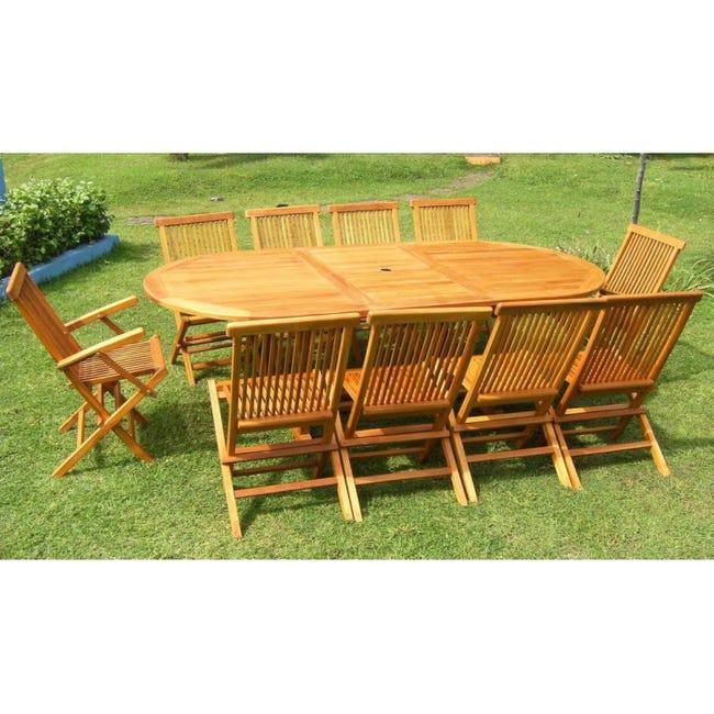 Lubok Salon De Jardin Teck Huile 10 12 Pers Table Ovale 120 Cm 8 Chaises 2 Fauteuils Leroy Merlin