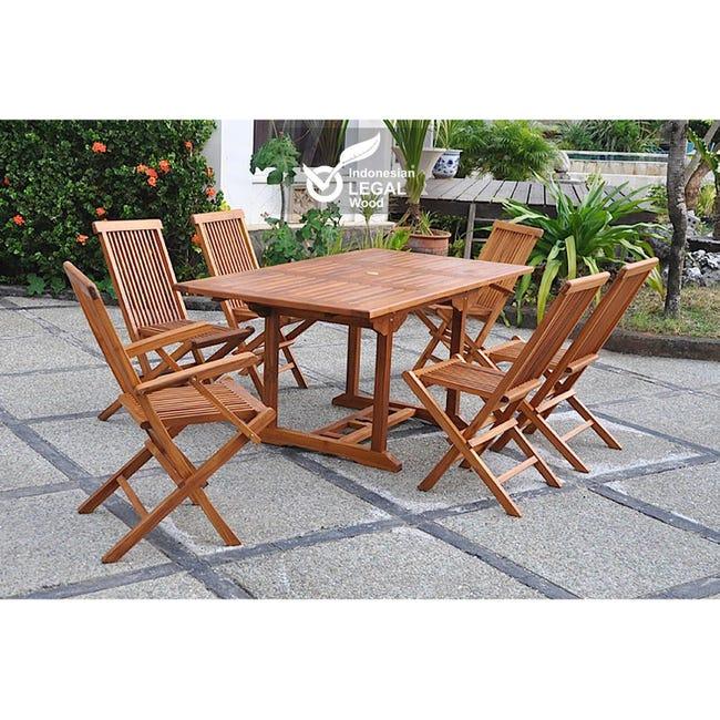 Lubok Salon De Jardin Teck Huile 6 Personnes Table Rectangulaire 4 Chaises 2 Fauteuils Leroy Merlin