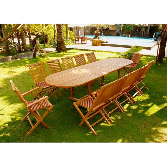 Kajang Salon De Jardin Teck Brut 12 14 Pers Table Ovale 90 Cm 10 Chaises 2 Fauteuils Leroy Merlin