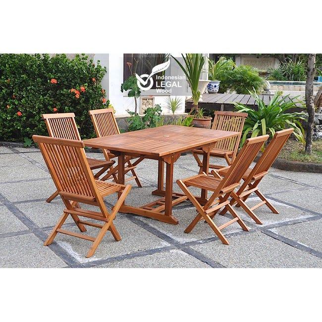 Lubok Salon De Jardin Teck Huile 6 Personnes Table Rectangulaire 6 Chaises Leroy Merlin