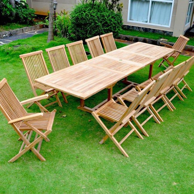 Kajang Salon De Jardin Teck Brut 12 14 Pers Table Rectangulaire 90 Cm 10 Chaises 2 Fauteuils Leroy Merlin