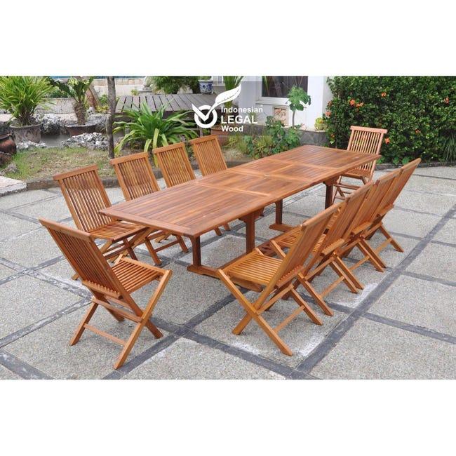 Lubok Salon De Jardin Teck Huile 10 Personnes Table Rectangle 10 Chaises Leroy Merlin