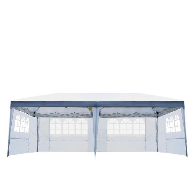 Tonnelle Tente De Reception Pliante Pavillon Chapiteau Barnum 3x6m Blanc Cotes Demontables Leroy Merlin