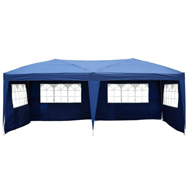 Tonnelle Tente De Reception Pliante Pavillon Chapiteau Barnum 3 X 6 M Bleu Cotes Demontables Leroy Merlin