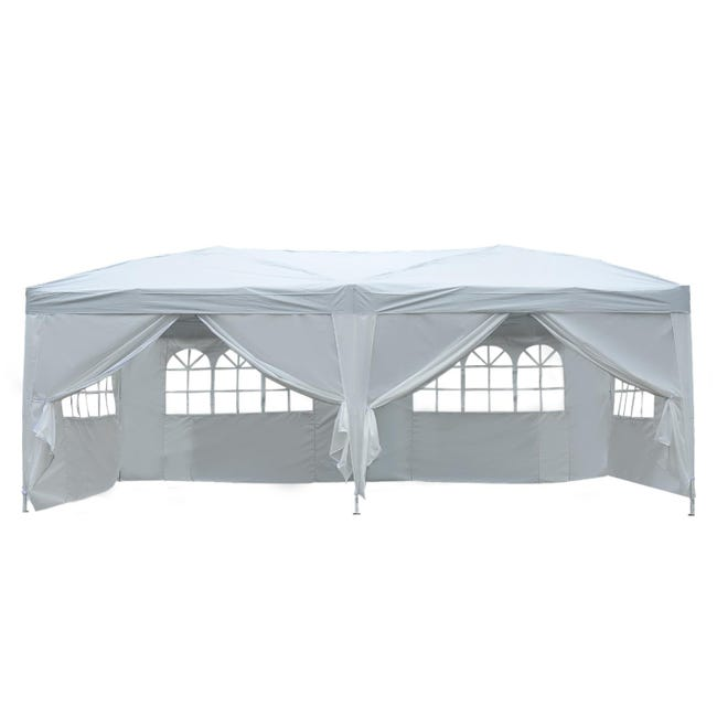 Tonnelle Tente De Reception Pliante Pavillon Chapiteau Barnum 3 X 6 M Blanc Cote Demontables Leroy Merlin