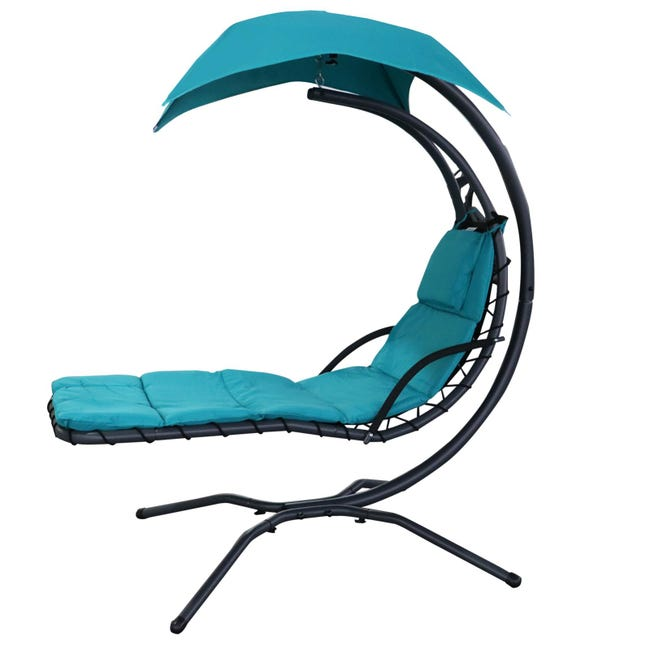 Transat Suspendu Design Contemporain Pare Soleil Et Matelas Inclus Turquoise Leroy Merlin