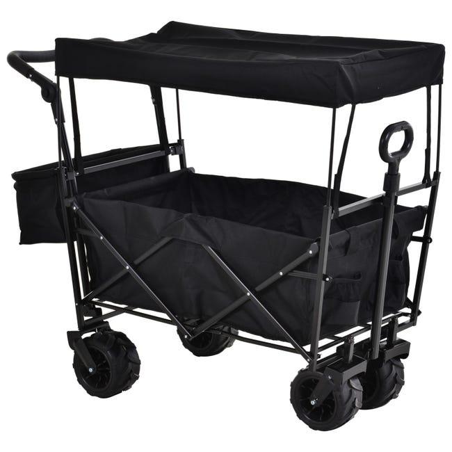 Chariot De Plage Transport Pliable Tout Terrain Metal Noir Oxford Leroy Merlin