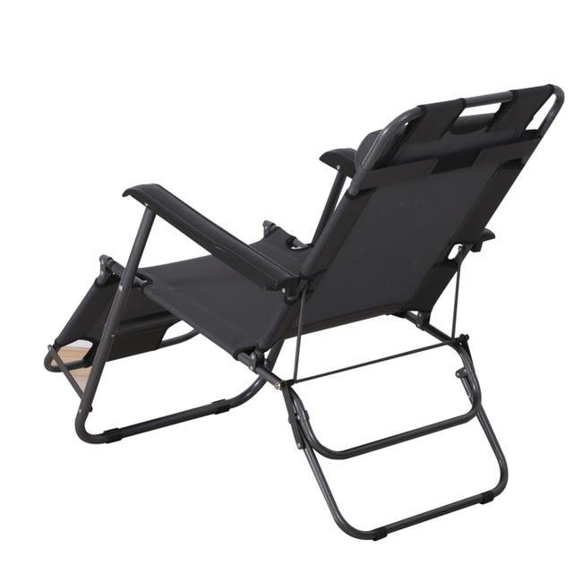 chaise longue transat 2 en 1 pliant inclinable