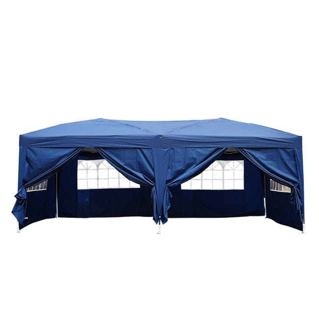 Tonnelle Tente De Reception Pliante Pavillon Chapiteau Barnum 3 X 6 M Bleu Cote Demontables Leroy Merlin