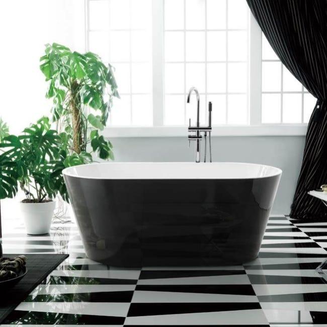 Baignoire Ilot Ovale Acrylique Noir Et Blanc 170x80 Cm Seville Leroy Merlin