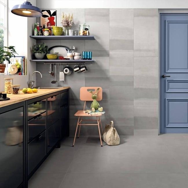 carrelage mur intenso beton gris mat l 45 x l 90 cm grade