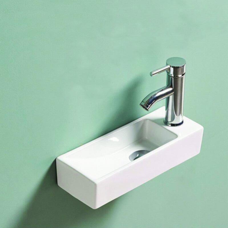 Mai /& Mai Petit Lavabo Suspendu Blanc Vasque en C/éramique Lave Mains WC Salle de Bain BR001L