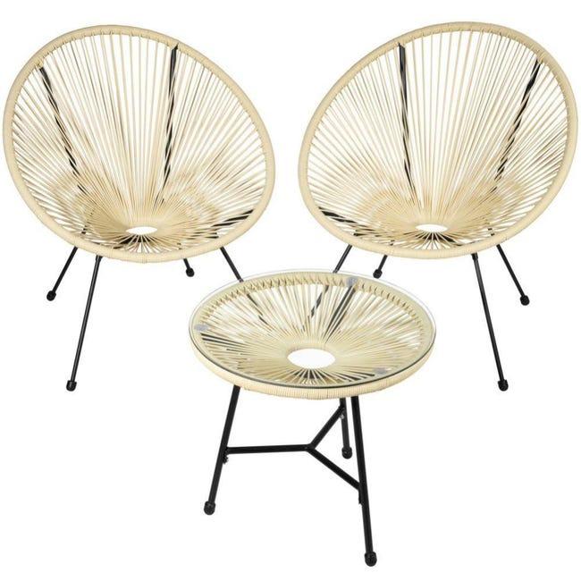 Salon De Jardin Ensemble Table Et Chaises De Jardin Beige 2208284 Leroy Merlin