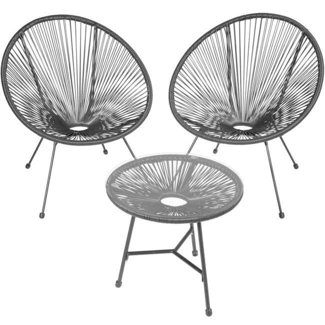 Salon De Jardin Ensemble Table Et Chaises De Jardin Noir 2208287 Leroy Merlin