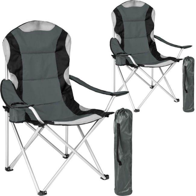 Lot De 2 Chaises Pliantes Camping Jardin Avec Rembourrage Gris 2208273 Leroy Merlin