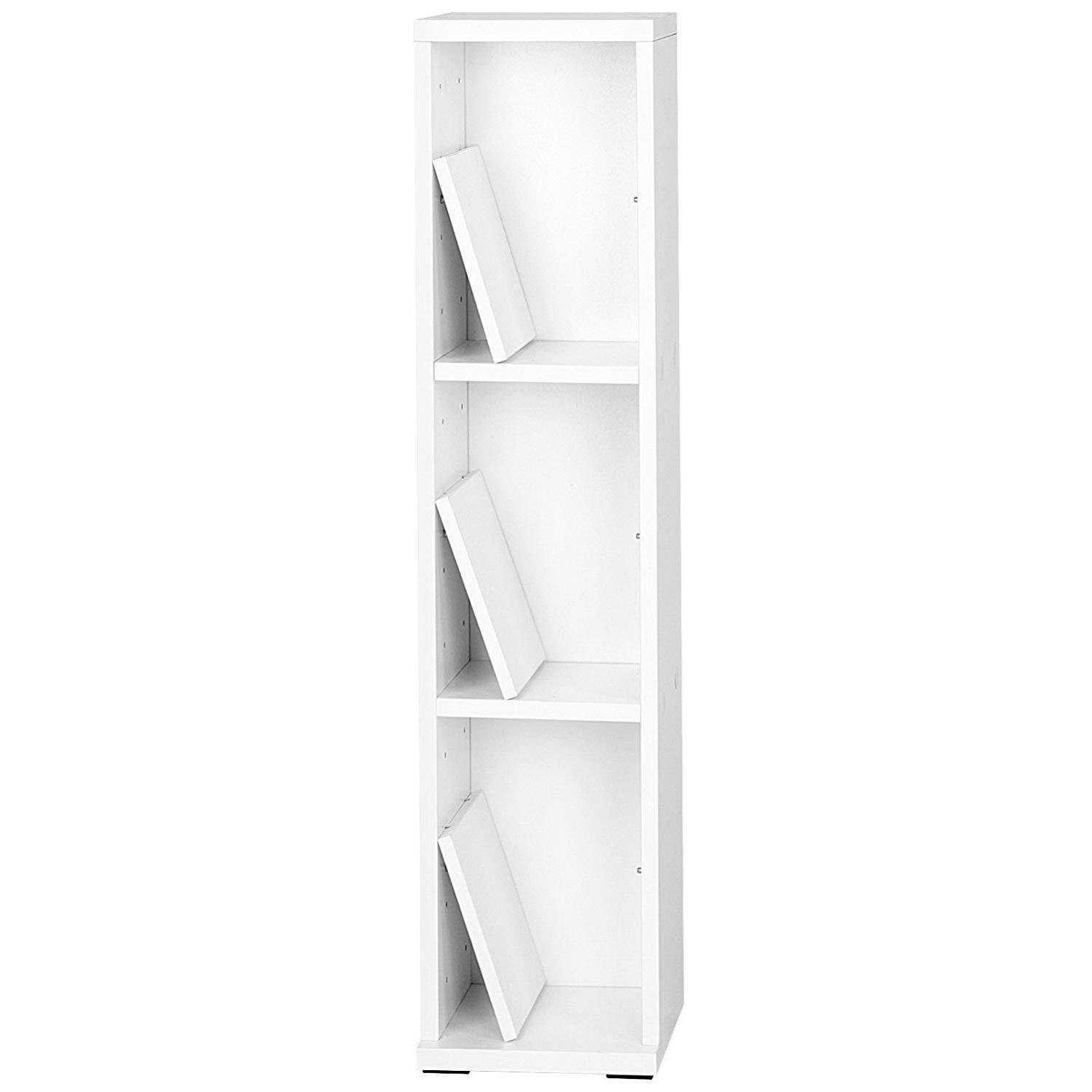Armoire Etagere Cd Colonne Tour Bibliotheque Meuble De Rangement Pour 100 Cds Blanc 0501019 Leroy Merlin