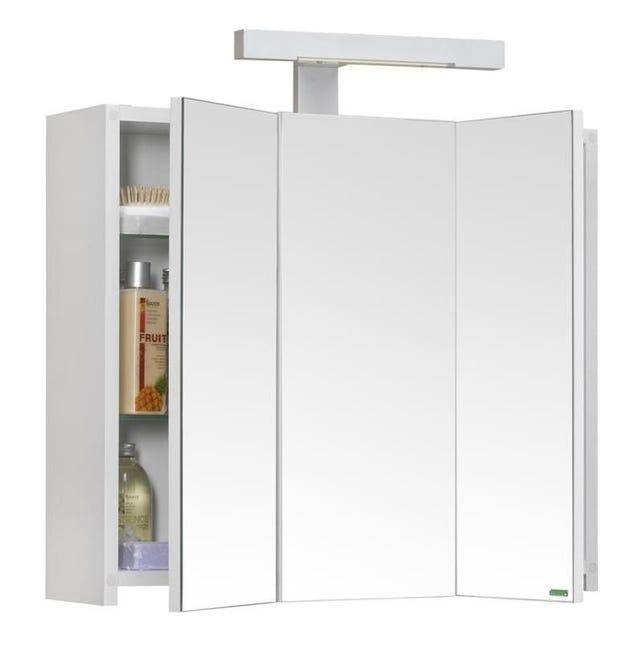 Allibert Armoire De Toilette Eclairante 60 Cm 3 Portes Miroirs Blanc Brillant Prise Ute Pian O Leroy Merlin