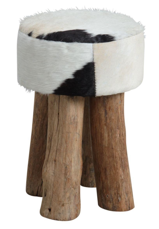 tabouret rond en peau de vache aubry gaspard