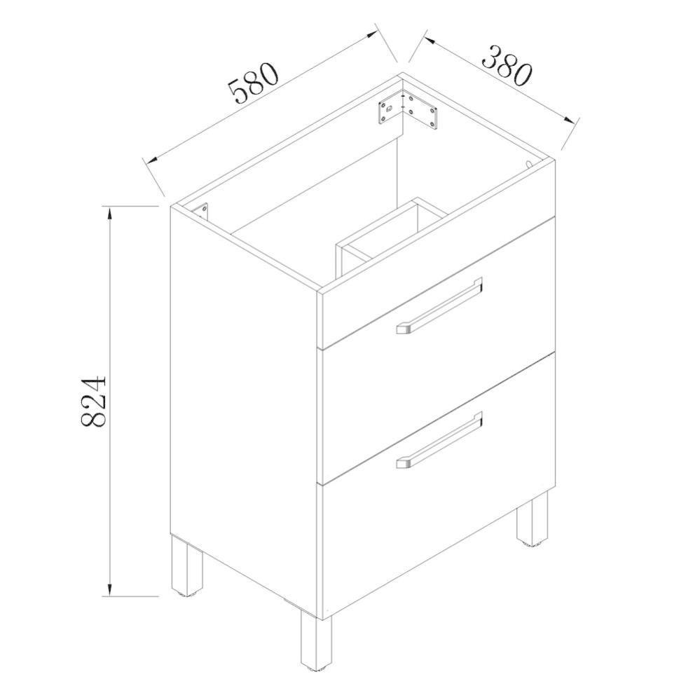 meuble sous vasque sur pieds avec lavabo integre 2 tiroirs blanc 60cm
