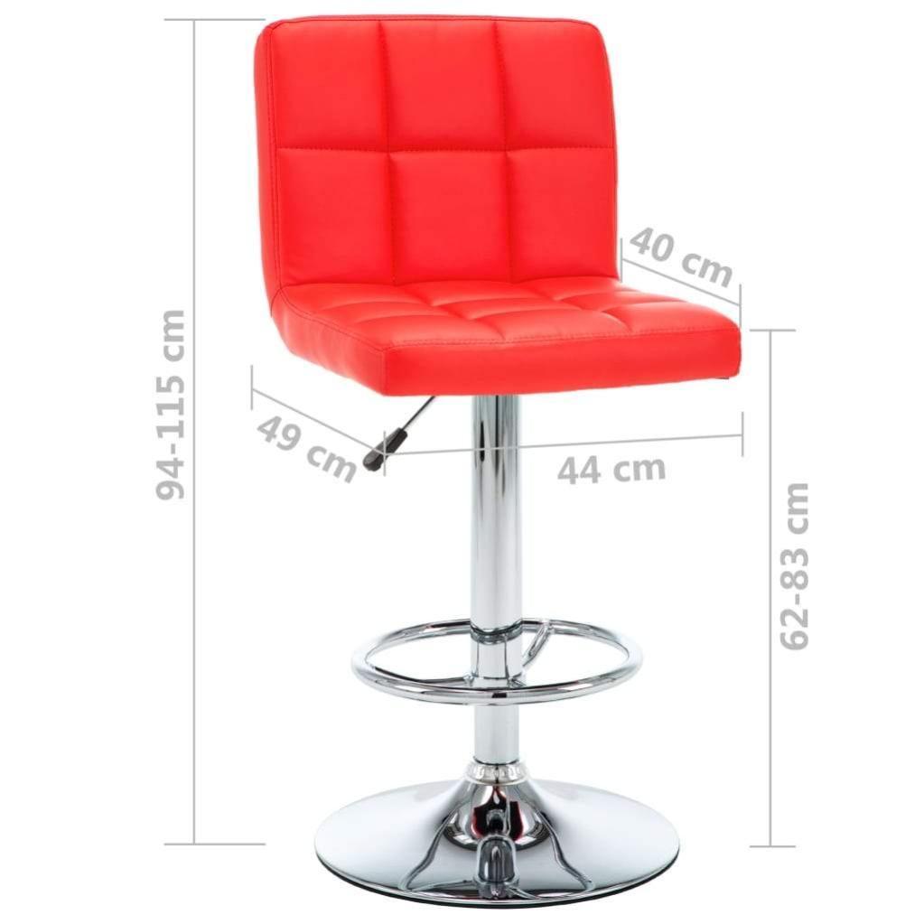 Lot De Deux Tabourets De Bar Design Chaise Siège Similicuir Rouge 1202156