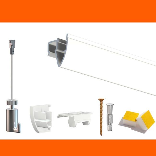 Cimaise Box Premium Artiteq Click Up Plafond 4 Metres Kit Accrochage Tableau Metrage 4 Metres Couleur Blanc Laque Leroy Merlin