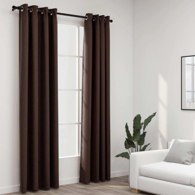 rideaux occultants aspect lin avec œillets 2pcs taupe 140x225cm vidaxl