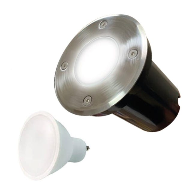 Spot Encastrable Sol Rond Exterieur Ip65 Ampoule Gu10 7w Blanc Froid 6000k Leroy Merlin