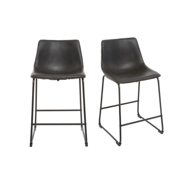 Tabourets De Bar Design Noir H61 Cm Lot De 2 New Rock Leroy Merlin