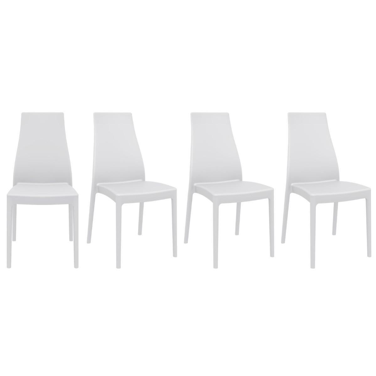 Chaises Design Empilables Intérieur Extérieur Blanches (lot De 4) Condor