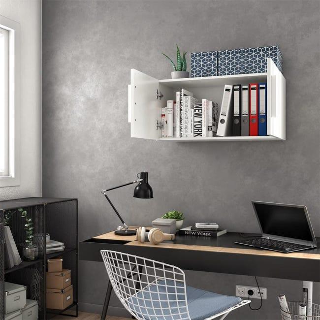 Meuble De Rangement Mural Blanc Brillant H 40 X L 80 X P 30 Cm Home Leroy Merlin