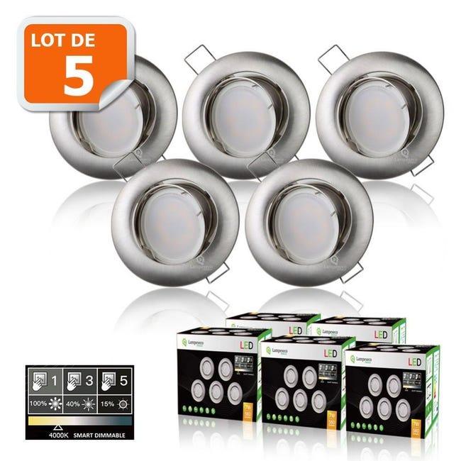 5 Spots Led Dimmable Sans Variateur 7w Eq 56w Blanc Neutre Orientable Alu Brosse Leroy Merlin