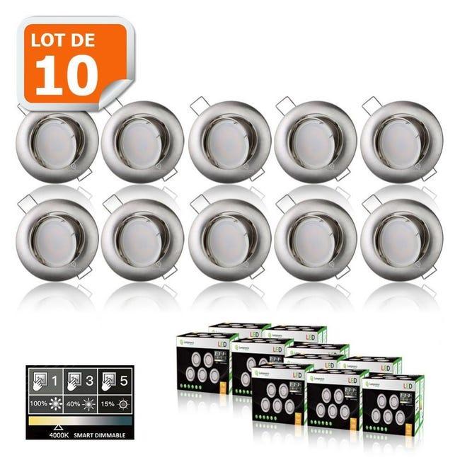 10 Spots Led Dimmable Sans Variateur 7w Eq 56w Blanc Neutre Orientable Alu Brosse Leroy Merlin