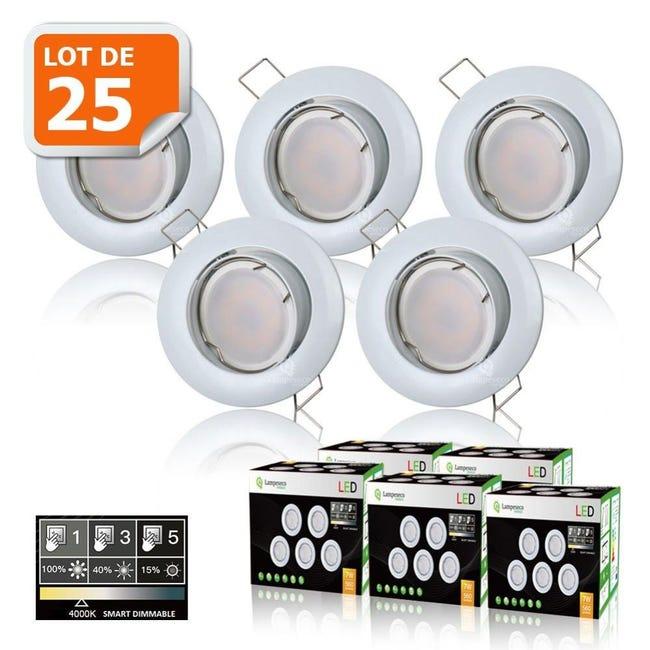 25 Spots Led Dimmable Sans Variateur 7w Eq 56w Blanc Neutre Orientable Finition Blanc Leroy Merlin